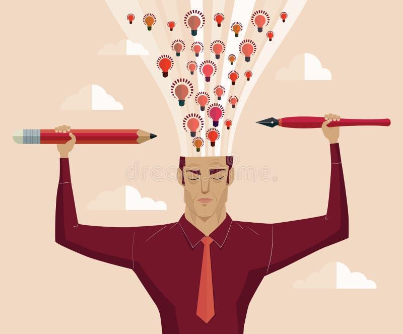 El hombre de negocios que sostiene un lápiz y una pluma encienden el cerebro de la erupción stock de ilustración