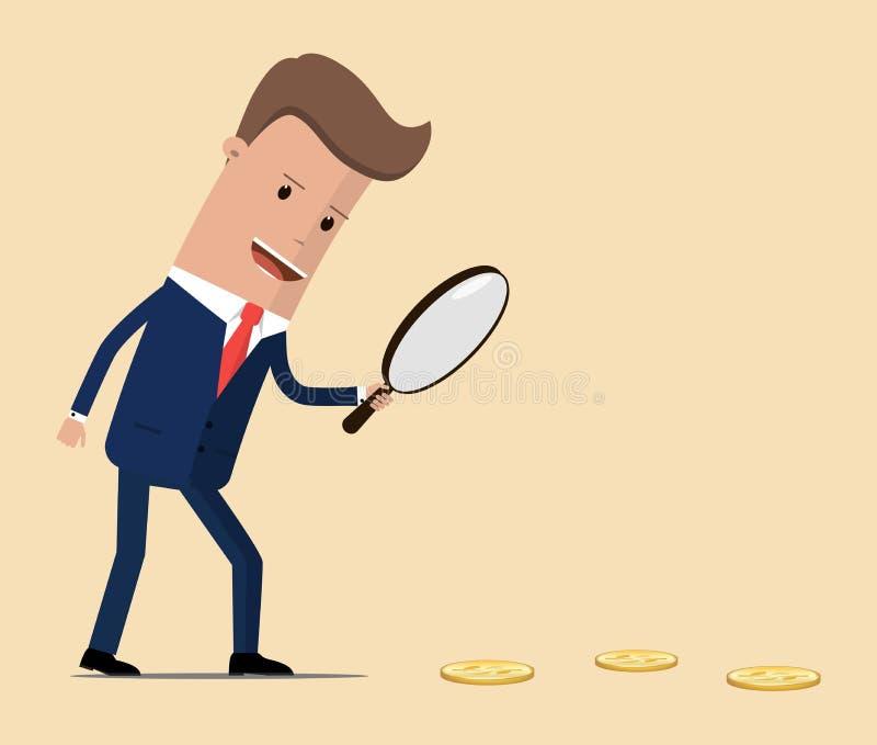El hombre de negocios que sostiene una lupa sigue monedas del dólar Ilustración del vector stock de ilustración