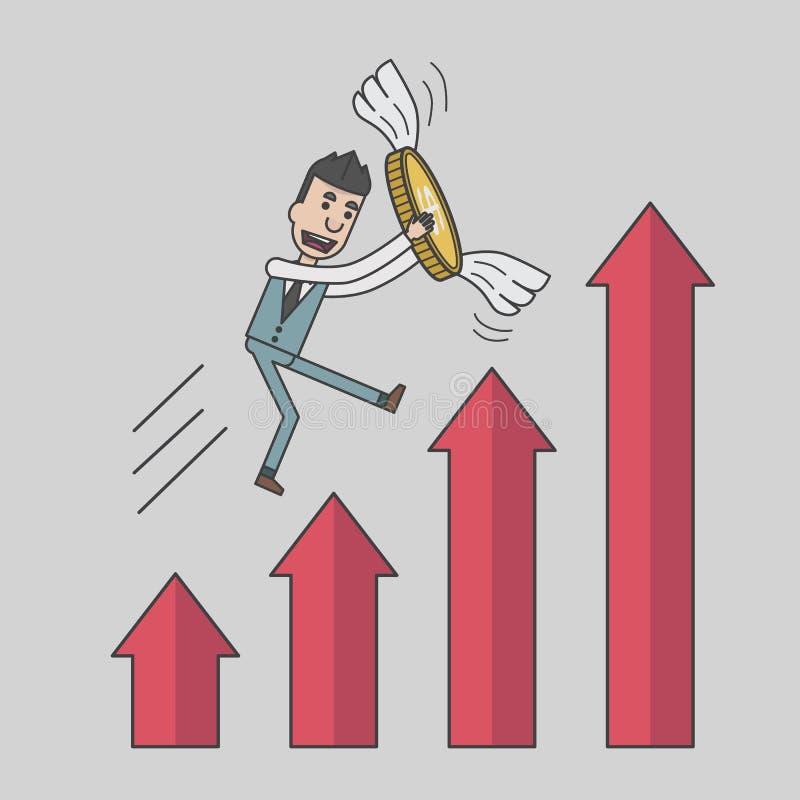 El hombre de negocios que sostiene una moneda de la mosca con el valor de la carta del dinero crece ilustración del vector