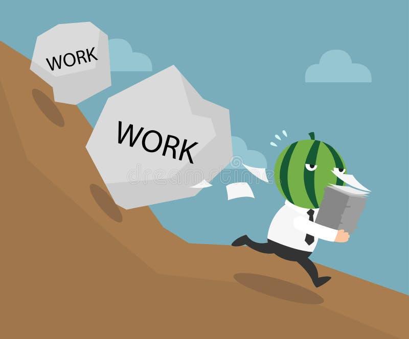 El hombre de negocios que tiene que hacer demasiado trabaja libre illustration