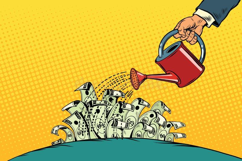 El hombre de negocios regó dólares del dinero de una regadera stock de ilustración