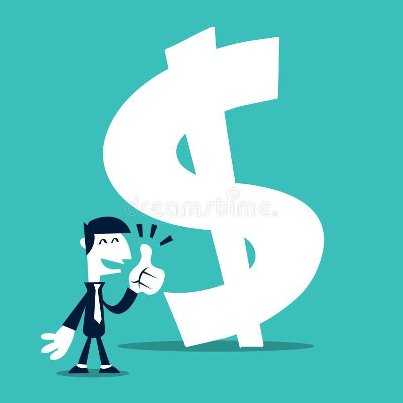 El hombre de negocios retro de la historieta manosea con los dedos para arriba en la muestra del dinero libre illustration