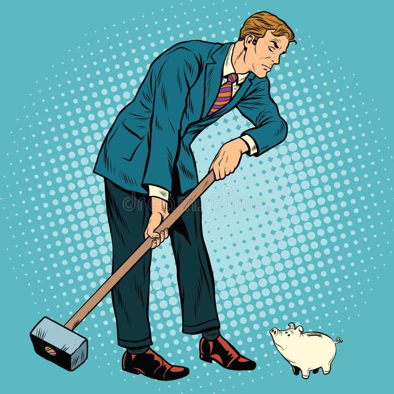 El hombre de negocios retro quiere tomar abajo una pequeña hucha ilustración del vector