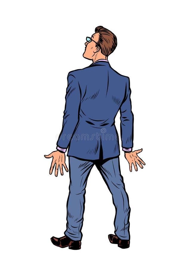 El hombre de negocios retrocede el aislante en el fondo blanco ilustración del vector