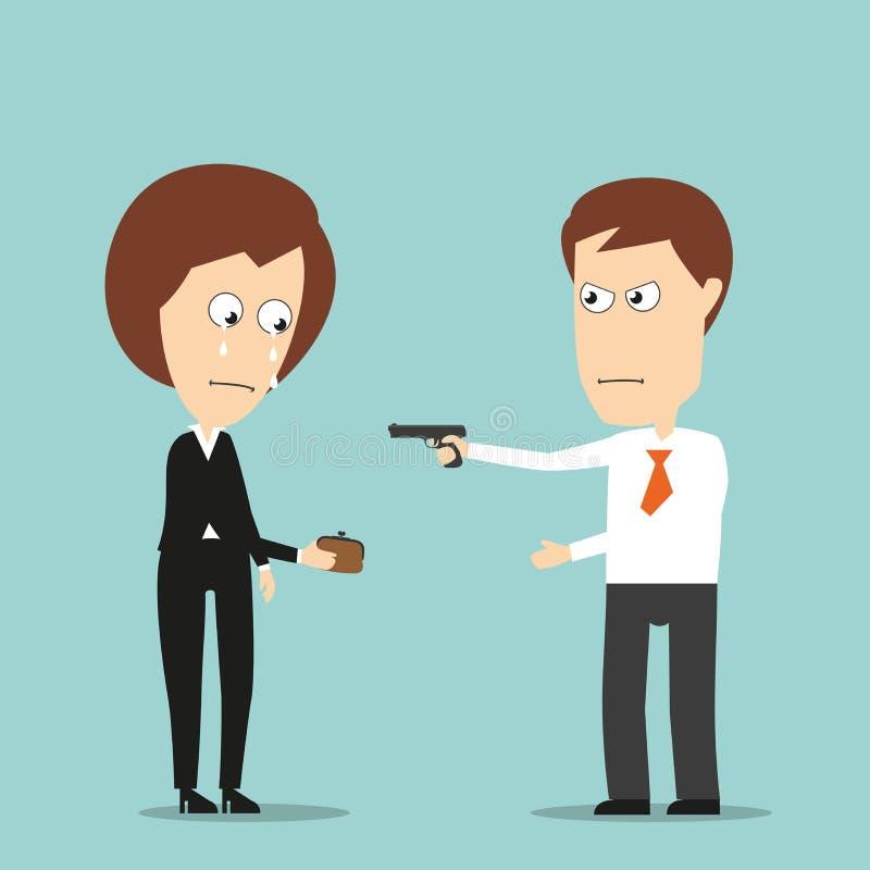 El hombre de negocios roba a la mujer de negocios con una arma de mano stock de ilustración