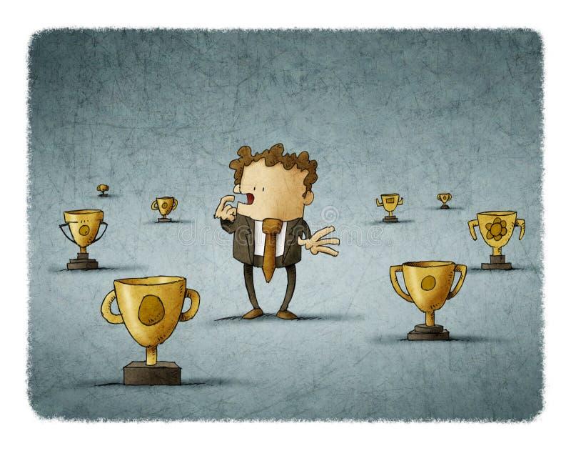 El hombre de negocios rodeado por los trofeos piensa en cuál para elegir libre illustration