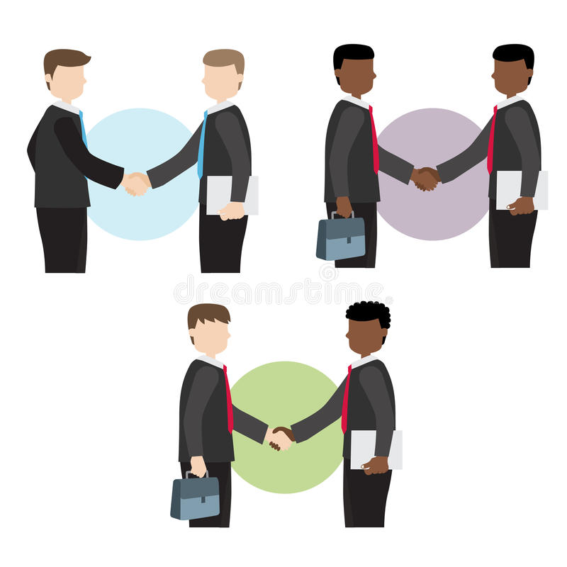 El hombre de negocios sacude las manos ilustración del vector