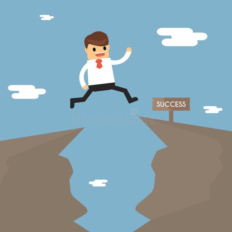 El hombre de negocios salta con el hueco en las rocas el concepto de BU ilustración del vector