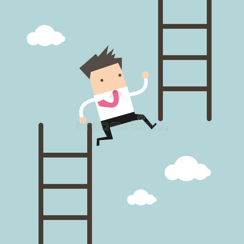 El hombre de negocios salta de la escalera baja a la alta escalera libre illustration