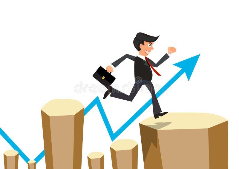 El hombre de negocios salta el obstáculo con el gráfico de la flecha libre illustration