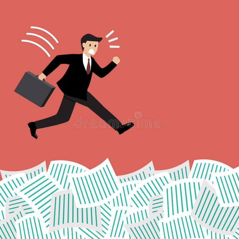 El hombre de negocios salta en muchos documentos libre illustration