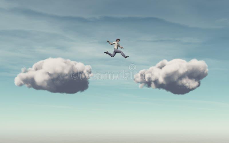 El hombre de negocios salta en una nube stock de ilustración