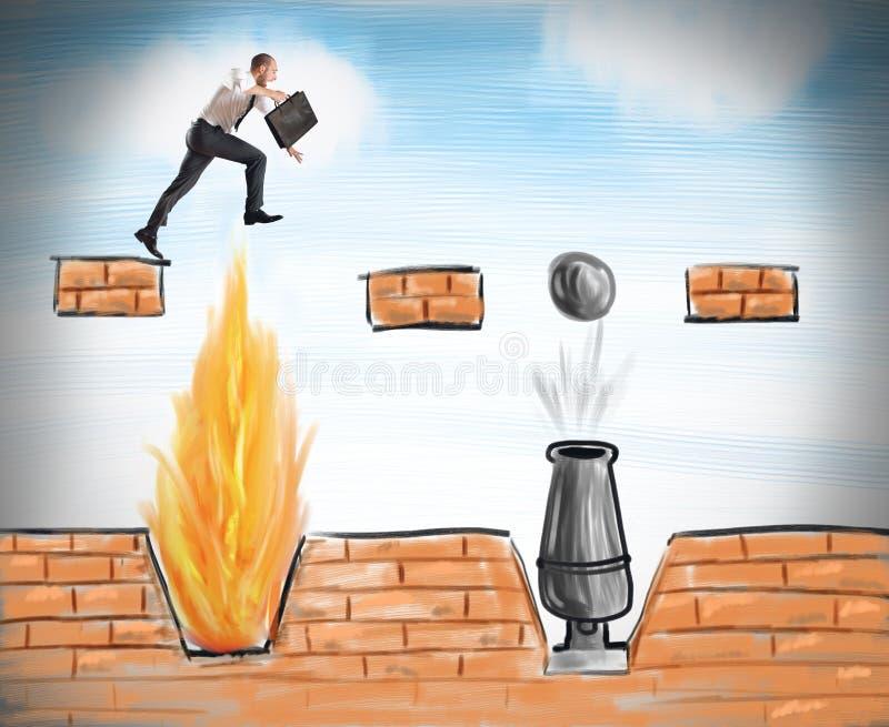 El hombre de negocios salta para superar obstáculos libre illustration
