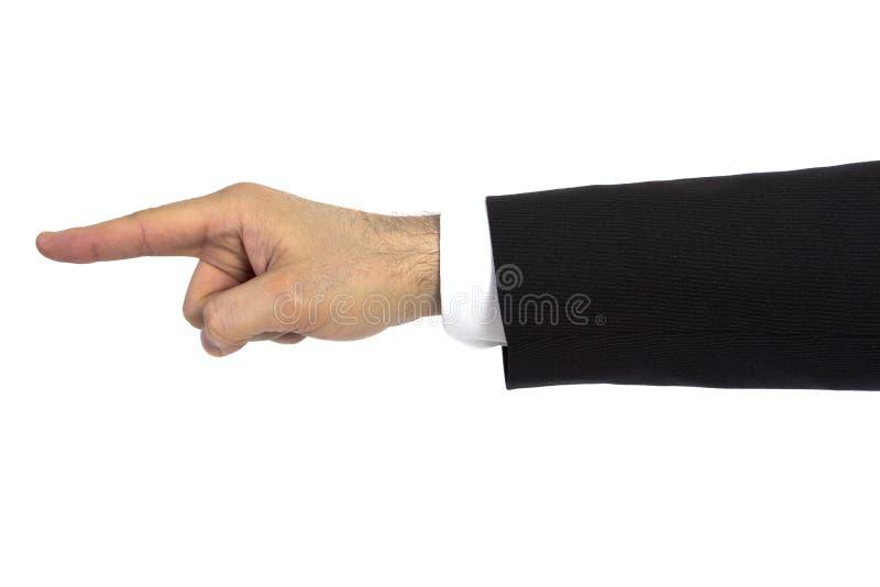 El hombre de negocios señala el dedo a la izquierda imagen de archivo