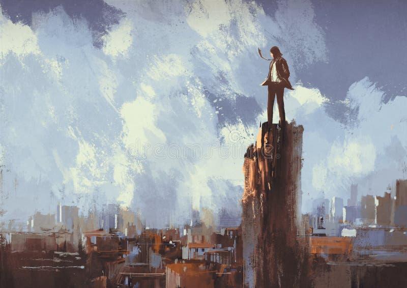 El hombre de negocios se coloca en el pico que mira la ciudad ilustración del vector