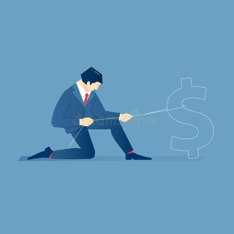 El hombre de negocios se coloca en una rodilla y captura símbolo del dinero con la stock de ilustración