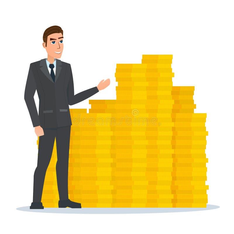 El hombre de negocios se coloca orgulloso cerca de la pila de monedas de oro ilustración del vector