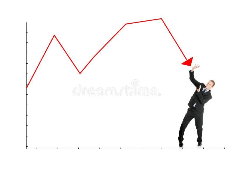 El hombre de negocios se defiende de gráfico que cae imágenes de archivo libres de regalías