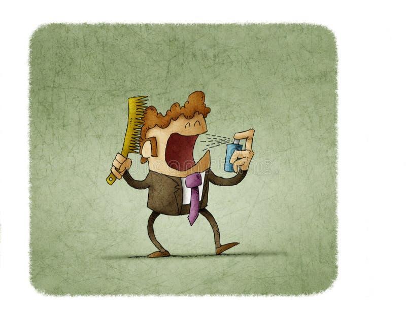 El hombre de negocios se peina el pelo mientras que usa el espray oral stock de ilustración