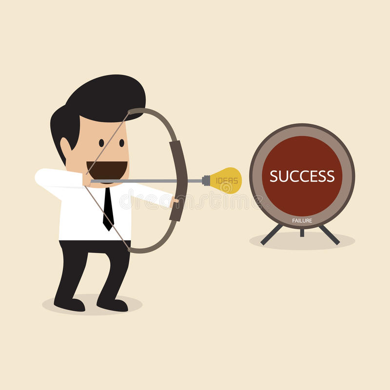 El hombre de negocios se prepara para lanzar la flecha de la idea para apuntar stock de ilustración