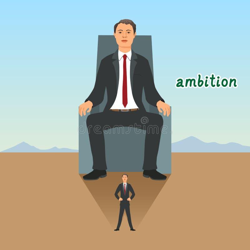El hombre de negocios se siente el sentarse en el trono y alcanzando éxito Símbolo de la ambición, de la dirección y del desafío stock de ilustración