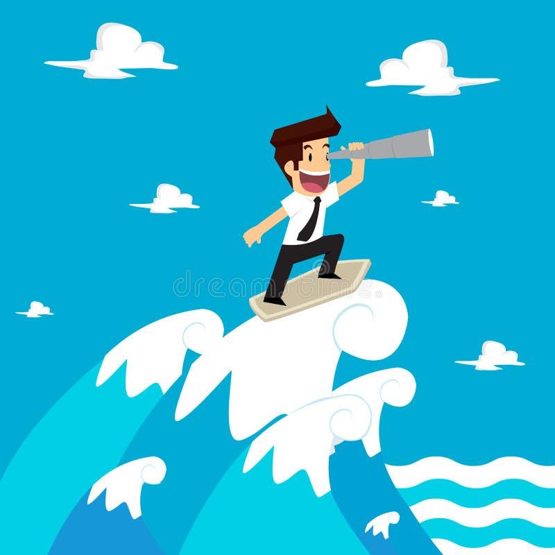 El hombre de negocios sea previsor en las ondas ilustración del vector