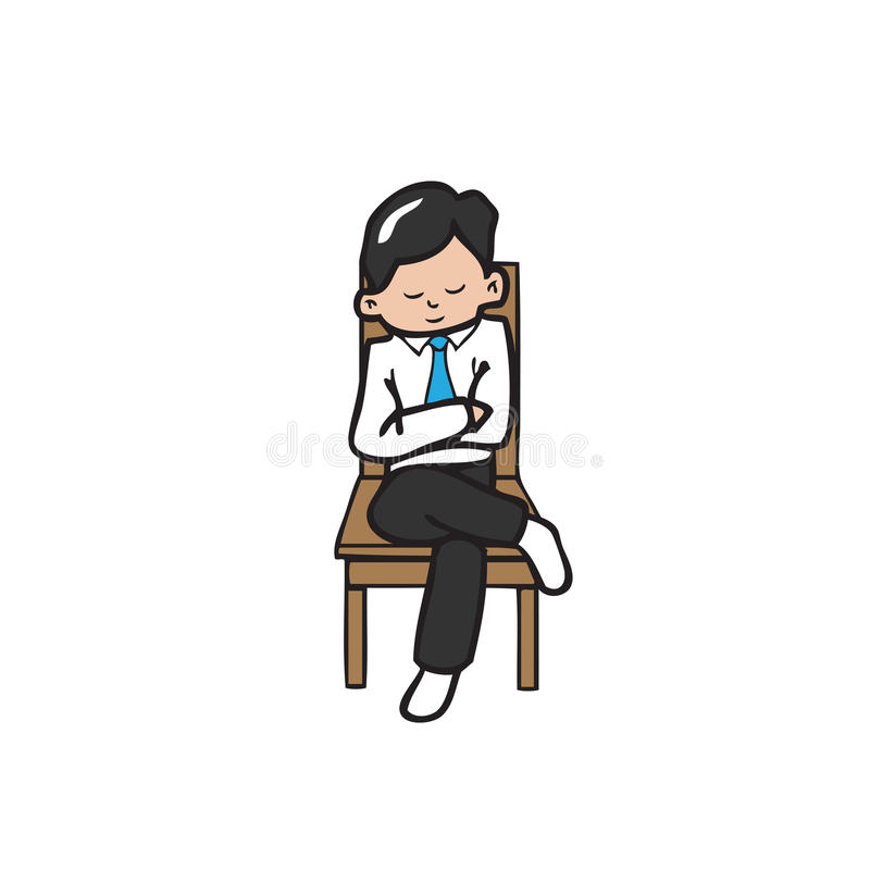 El hombre de negocios sienta las manos cruzadas stock de ilustración