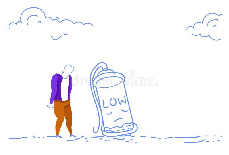 El hombre de negocios sobrecargó garabato horizontal de proceso trabajador del bosquejo de la energía baja con exceso de trabajo  stock de ilustración