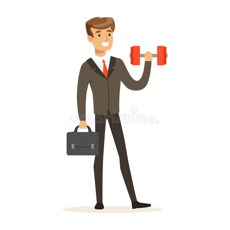 El hombre de negocios sonriente en un traje que levanta fácilmente una pesa de gimnasia vector el ejemplo ilustración del vector