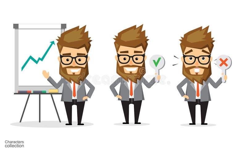 El hombre de negocios soporta el papel del control y de la marca de la cruz libre illustration