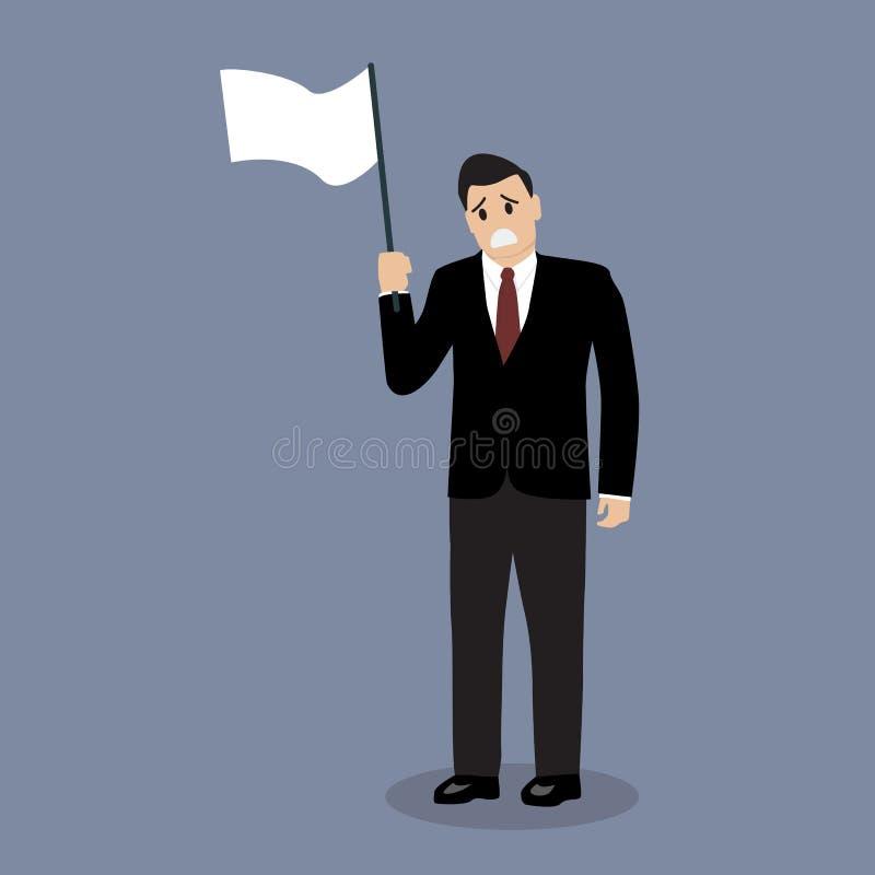 El hombre de negocios sostiene la bandera blanca de la entrega libre illustration