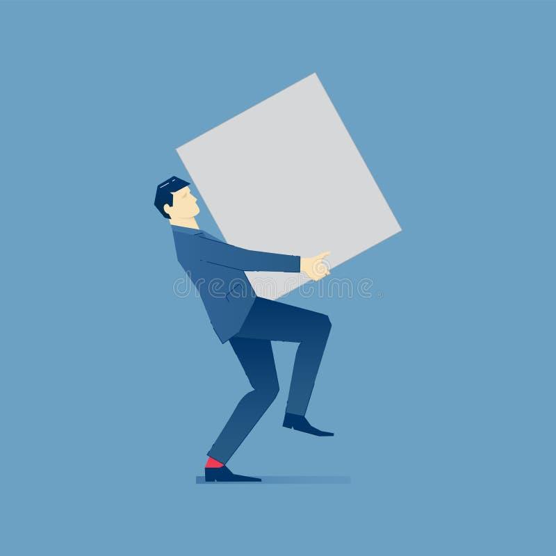 El hombre de negocios sostiene la caja pesada libre illustration