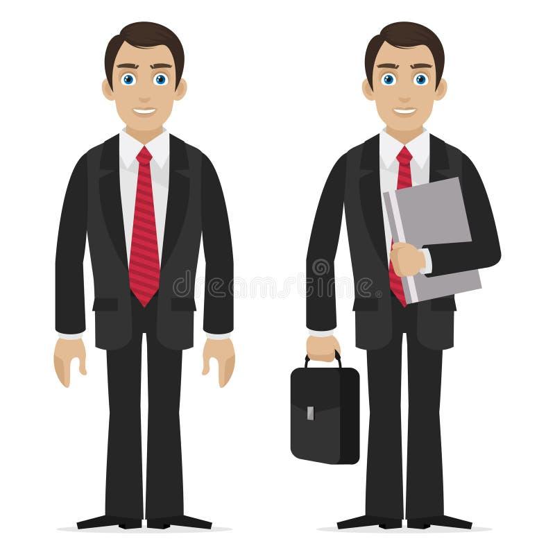 El hombre de negocios sostiene la maleta y la carpeta stock de ilustración