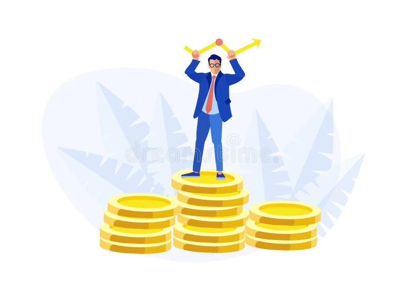 El hombre de negocios Stands en monedas apila el soporte de la flecha ilustración del vector