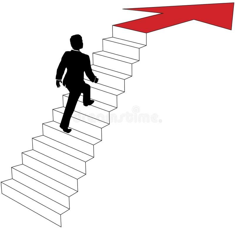 El hombre de negocios sube para arriba las escaleras de la flecha ilustración del vector