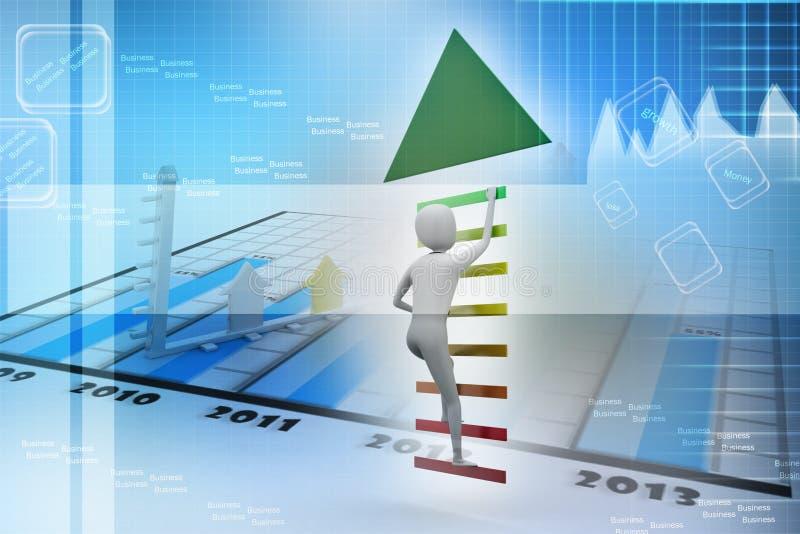 El hombre de negocios sube para arriba las escaleras a la dirección de la flecha al éxito ilustración del vector