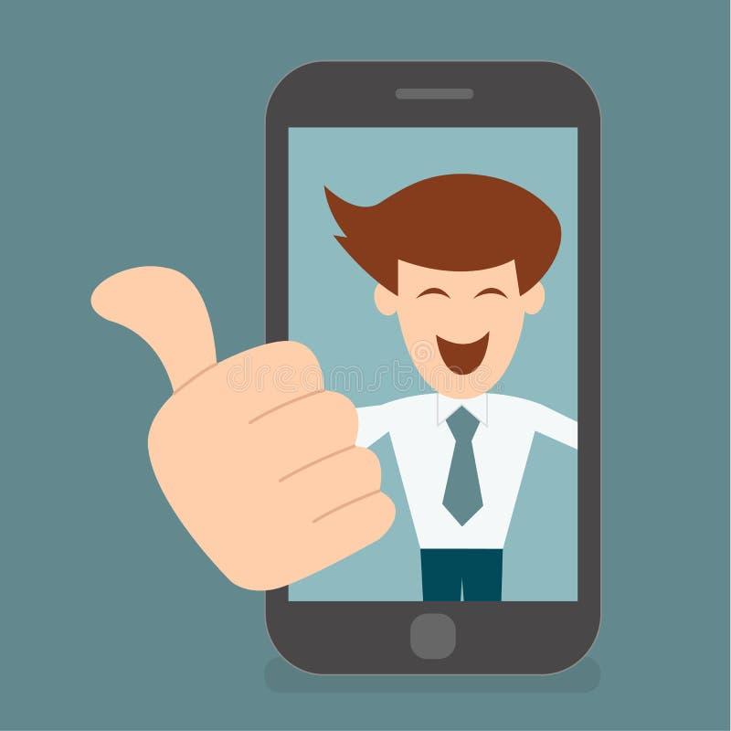 El hombre de negocios tiene gusto, los pulgares encima del concepto de vida digital ilustración del vector