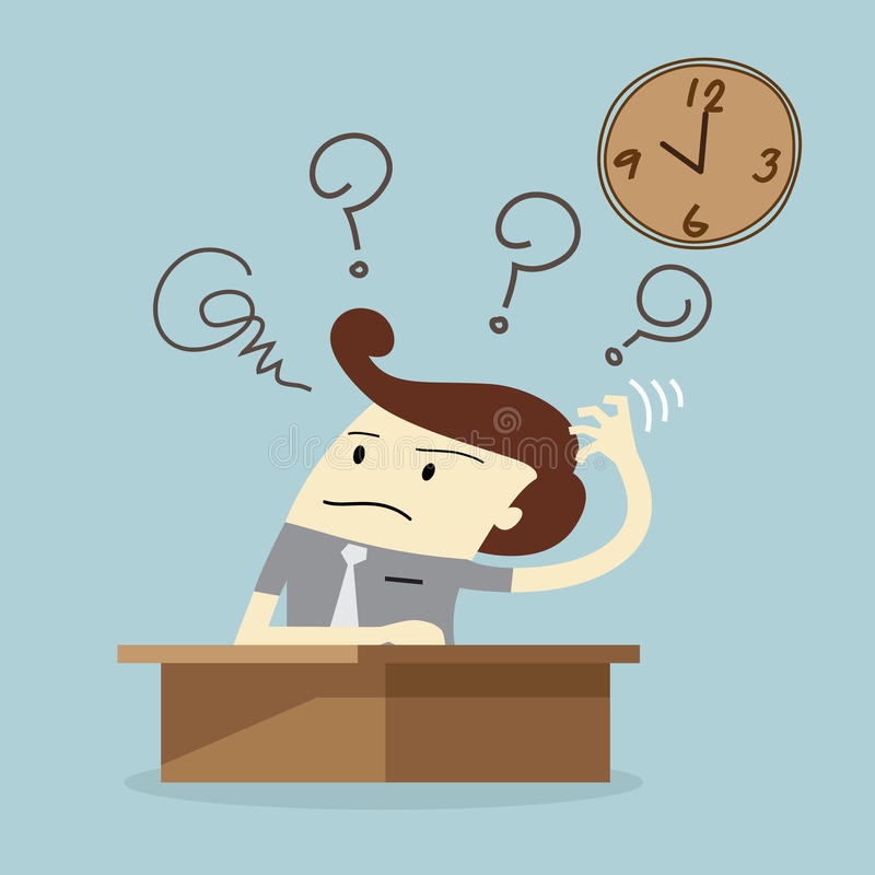 El hombre de negocios tiene una pérdida de tiempo stock de ilustración
