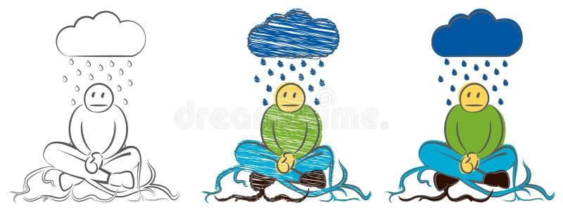 El hombre de negocios tomó la raíz en la tierra Carácter que llora bajo la lluvia Ejemplo dibujado mano del vector del garabato d ilustración del vector