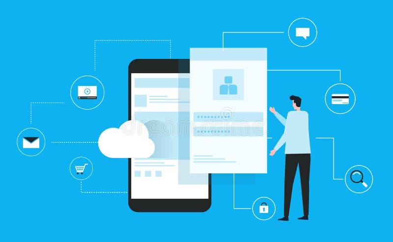 El hombre de negocios usando móvil conecta para nublarse concepto y el diseño plano del vector para la seguridad cibernética de I stock de ilustración