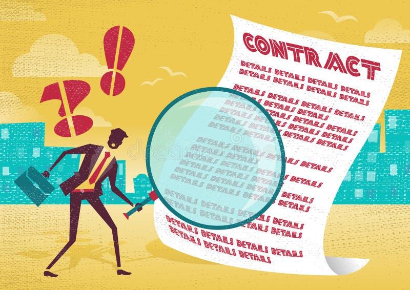 El hombre de negocios utiliza la lupa para comprobar el contrato libre illustration