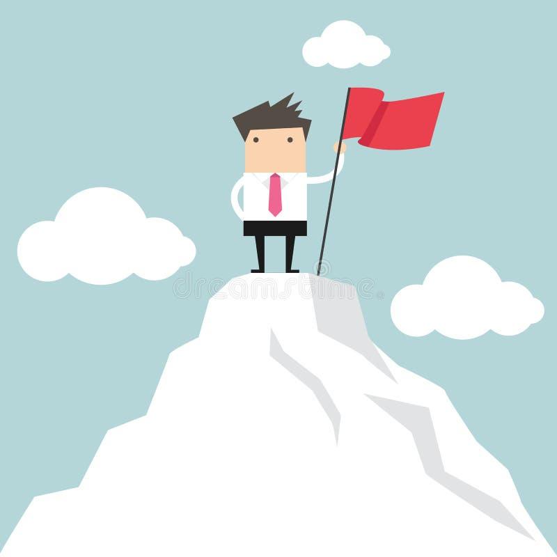El hombre de negocios va al top de la montaña stock de ilustración