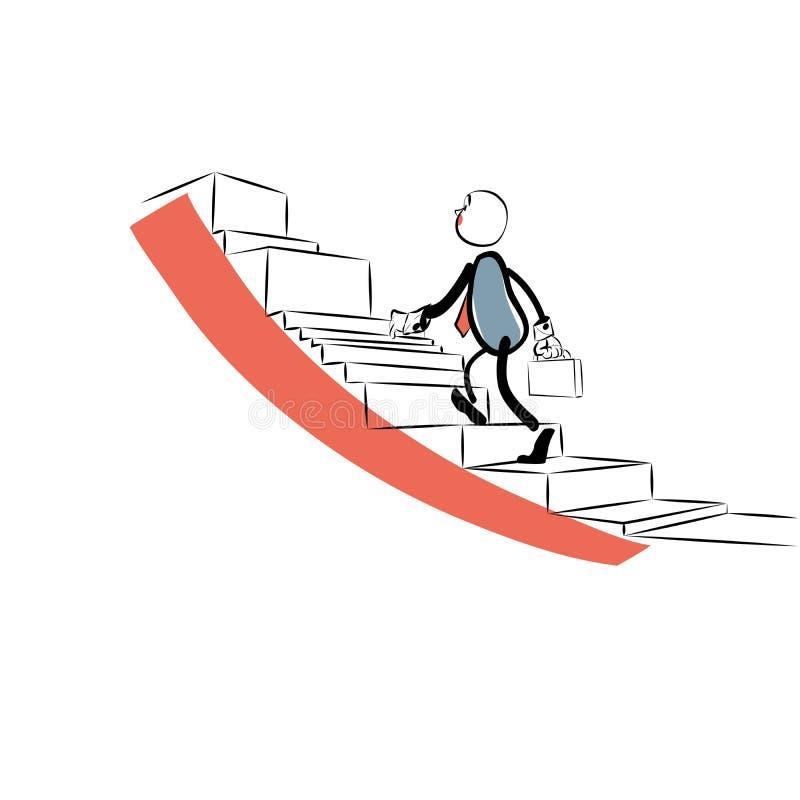 El hombre de negocios va encima de la escalera de la carrera ilustración del vector