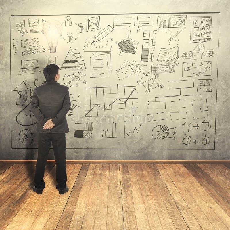 El hombre de negocios ve en el concepto del negocio en la pared stock de ilustración
