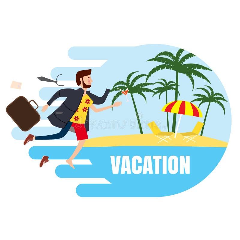 El hombre de negocios viaja a partir de invierno al verano a un centro turístico tropical, para hacer publicidad, los anuncios, t ilustración del vector