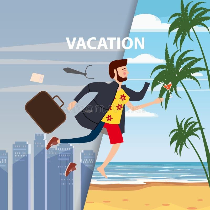 El hombre de negocios viaja a partir de invierno al verano, de una ciudad gris del invierno a un centro turístico tropical, para  stock de ilustración