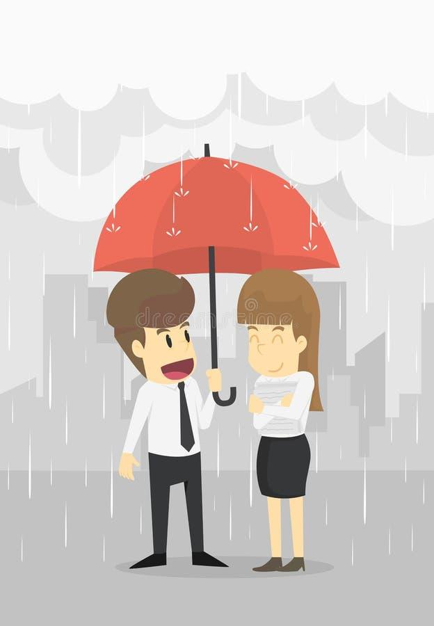 El hombre de negocios y la empresaria se unen en lluvia con un umb stock de ilustración