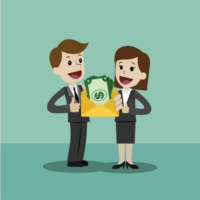El hombre de negocios y la empresaria sostiene el dinero y tiene beneficio Negocio de Succsessful pagos ilustración del vector