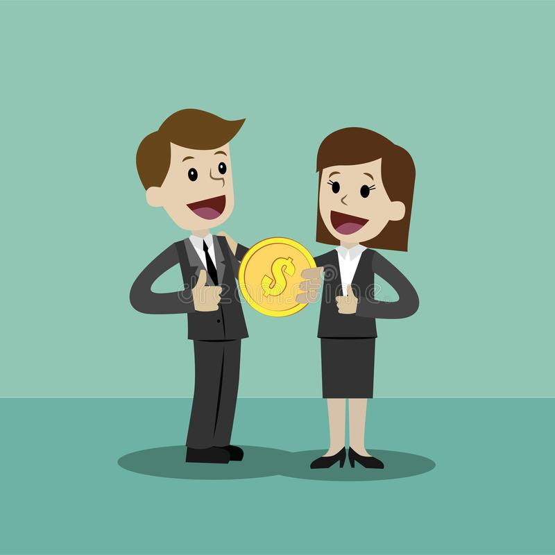El hombre de negocios y la empresaria sostienen el conejo en su mano y tienen beneficio Negocio de Succsessful pagos stock de ilustración
