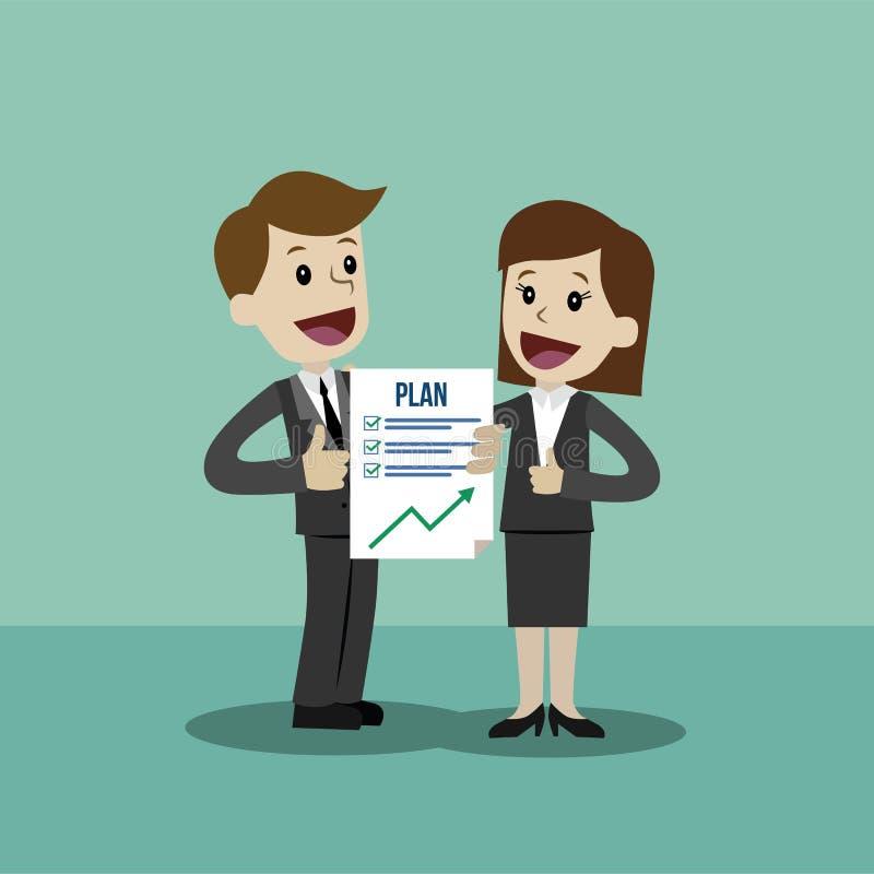 El hombre de negocios y la empresaria tienen un plan El trabajo es acertado acabado stock de ilustración